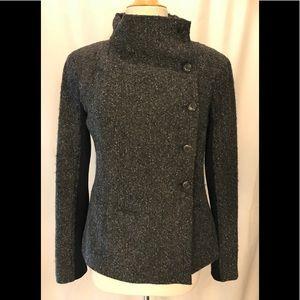 Elizabeth & James gray tweed side button blazer